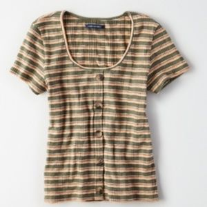 AE Striped Button Front Top